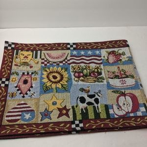 Tapestry Farm Cow Embroidered Table Runner